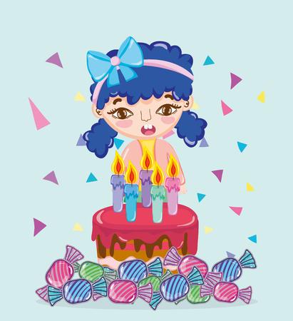 Fille avec gâteau d'anniversaire et bonbons vector illustration graphic design Vecteurs