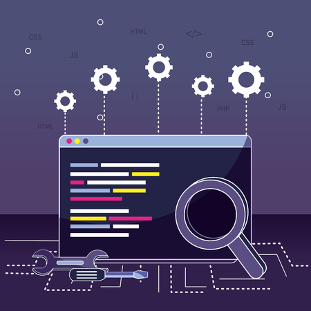 Program coding browser and magnifying glass with gears vector illustration graphic design