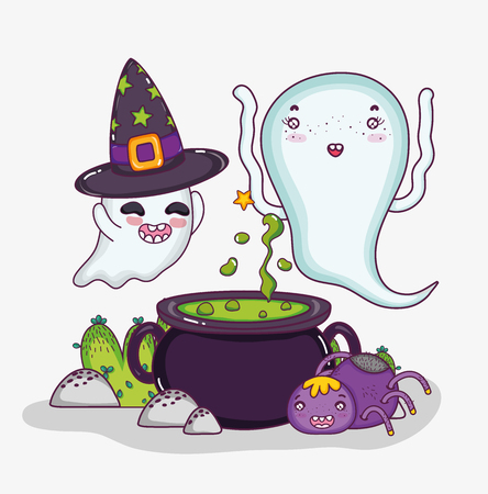 Cute ghosts and soup pot halloween cartoons vector illustration graphic design