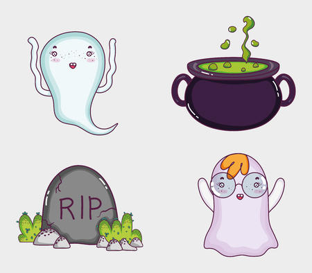 Set of halloween cartoons Vectores