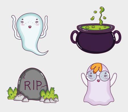 Set of halloween cartoons Illustration