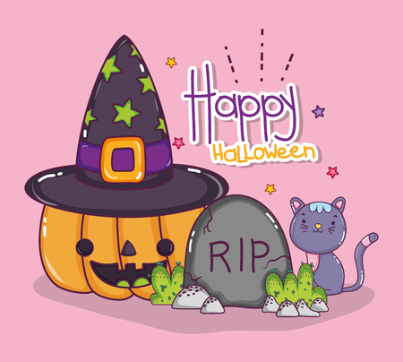 Happy halloween with pumpkin and witch hat cartoons vector illustration graphic design