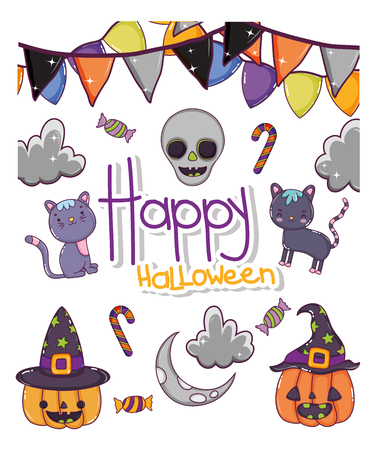 Set of halloween cartoons collection vector illustration graphic design