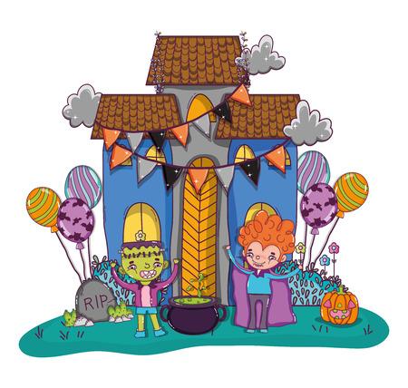 Halloween vampire boy and frankenstein with haunted house cartoons vector illustration graphic design