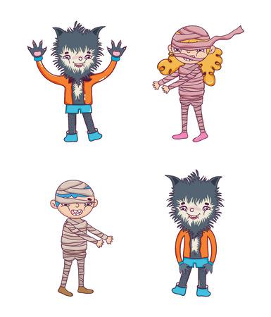 Conjunto de diseño gráfico de ilustración de vector de colección de dibujos animados de personajes de Hallooween