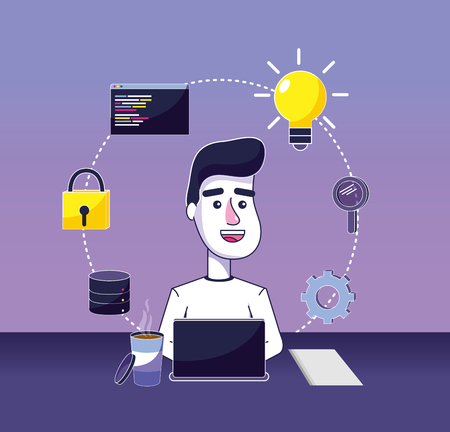 Software programmer working with laptop elements vector illustration graphic design