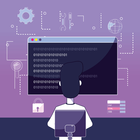 Software programmer working with browser vector illustration graphic design