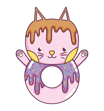 Ilustración de vector de comida de donut lindo gato kawaii