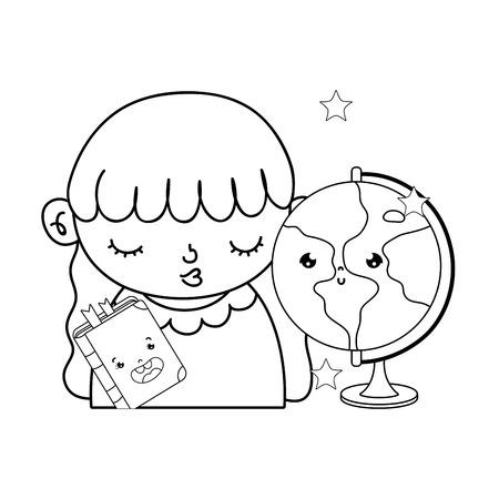 outline nice girl with kawaii school utensils vector illustration