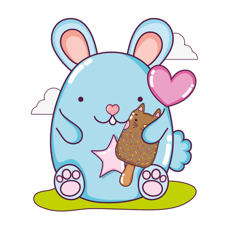 cute mouse and  cat ice cream vector illustration 일러스트