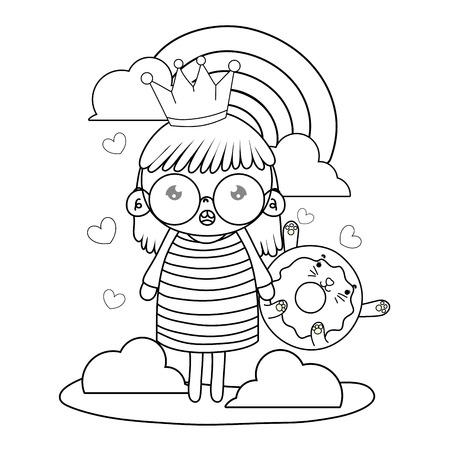 outline girl with kawaii cat donut and rainbow vector illustration