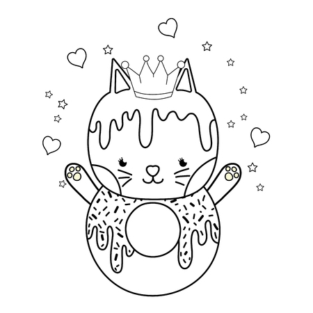 outline kawaii cat donut with hearts and sars vector illustration