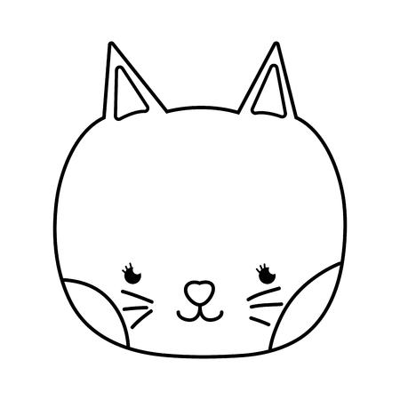 outline tender cat head nice animal vector illustration 일러스트