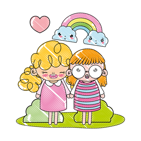 grated nice girls with rainbow and kawaii clouds vector illustration