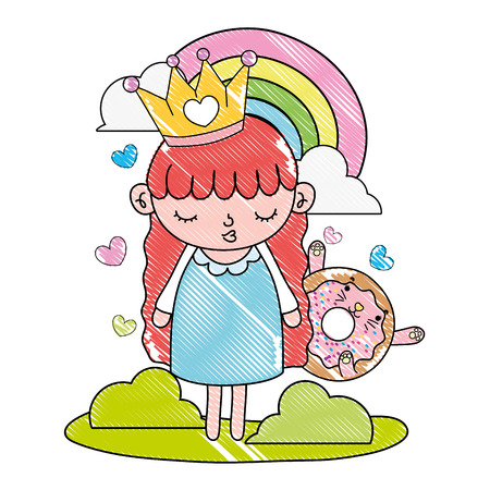 grated girl with crown and kawaii cat donut vector illustration