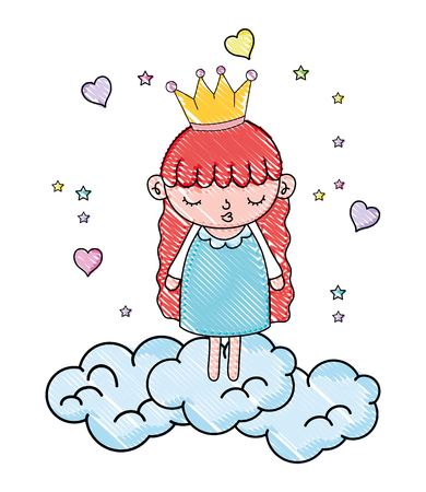 grated nice girl with crown in the clouds and hearts vector illustration