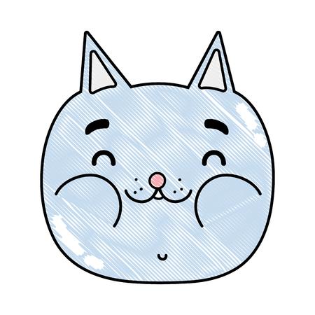 grated funny cat head nice animal vector illustration