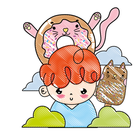 grated boy with kawaii cats donut and ice lolly vector illustration Illustration