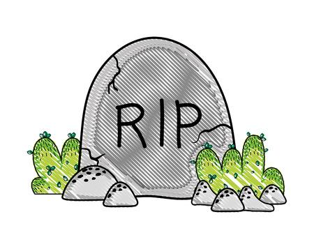 grated rip stone tablet with bushes and rocks vector illustration Ilustração