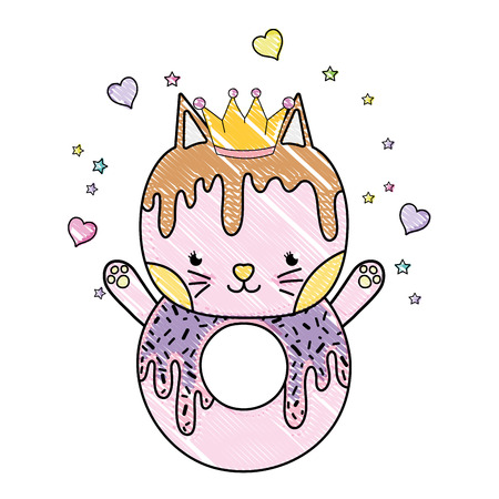 grated kawaii cat donut with hearts and sars vector illustration