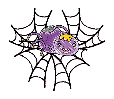 grated happy spider character animal in the spiderweb vector illustration