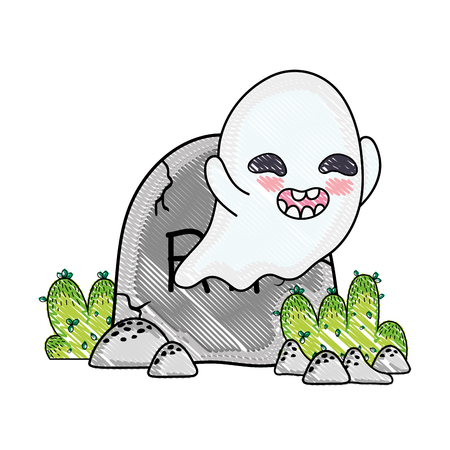 grated happy ghost character with rip stone vector illustration Illustration