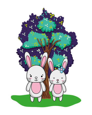 nice rabbit couple animal and tree vector illustration