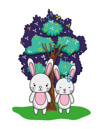 nice rabbit couple animal and tree vector illustration