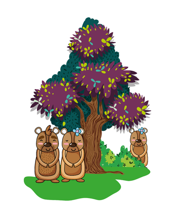 bears wild animals with bushes and tree vector illustration 일러스트