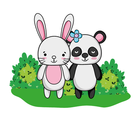 rabbit and panda friends animals and bushes vector illustration 일러스트