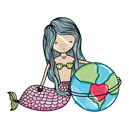 scribbled siren woman and global planet with heart vector illustration