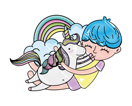 scribbled boy hugging unicorn with rainbow and clouds vector illustration
