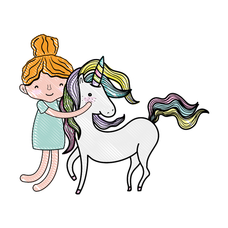 scribbled happy boy hugging beauty unicorn vector illustration