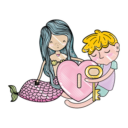 scribbled siren and boy with padlock heart and key vector illustration