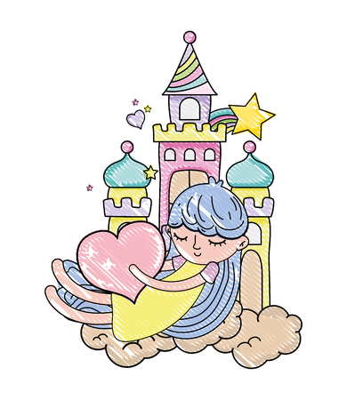 scribbled sleeping girl with heart in the castle and clouds vector illustration Illustration