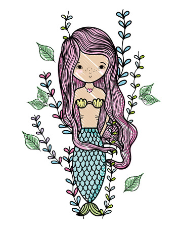 scribbled siren woman with exotic branches leaves vector illustration Illustration