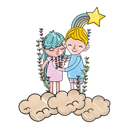 scribbled boy and girl together in the clouds with rainbow vector illustration