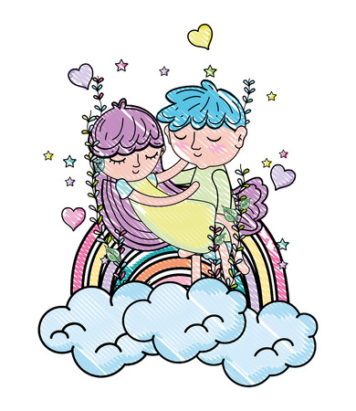 scribbled boy carrying girl in the clouds with rainbow and hearts vector illustration Illustration