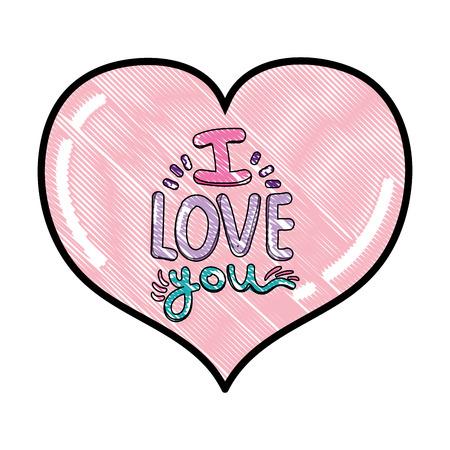 gekritzeltes Herz mit ich liebe dich romantische Nachricht Vektorillustration Vektorgrafik
