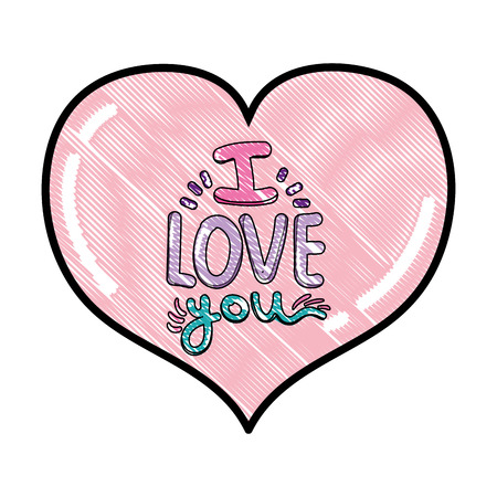 scribbled heart with i love you romantic message vector illustration