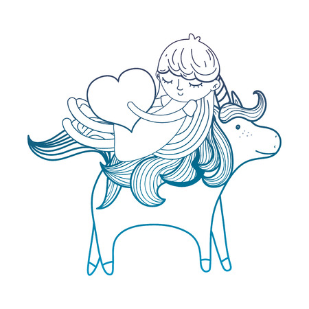 degraded outline girl with heart riding cute unicorn vector illustration