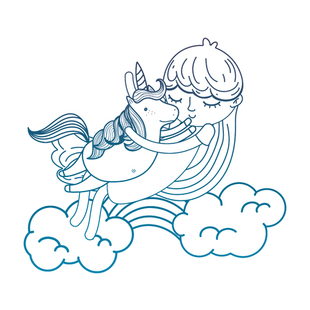 degraded outline nice girl hugging unicorn in the clouds vector illustration