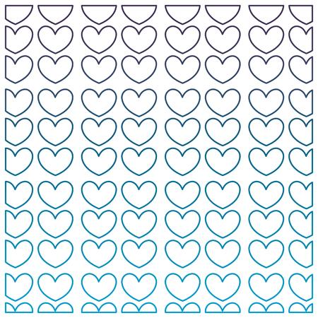 degraded outline nice hearts shapes decoration background vector illustration