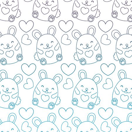 degraded outline cute female mouse and heart background vector illustration