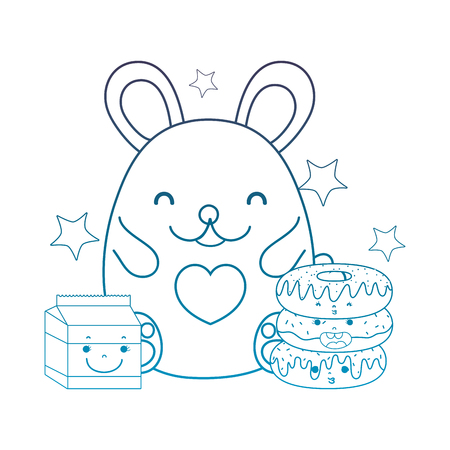 degraded outline female mouse with kawaii donuts and milk vector illustration
