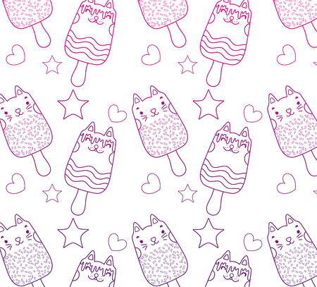 degraded outline kawaii cats ice lollies background vector illustration