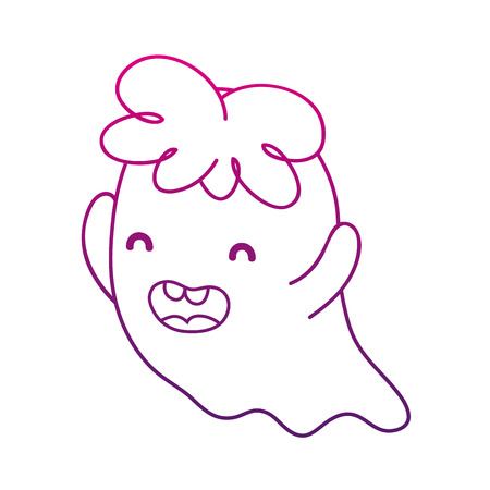 degraded outline happy ghost character with curly hair vector illustration