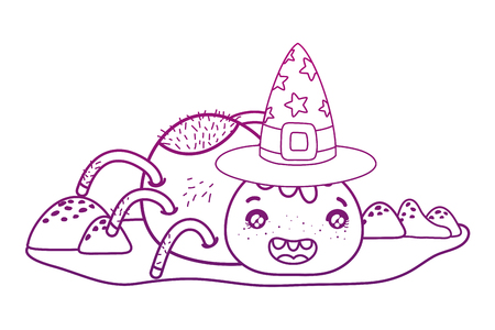 degraded outline happy spider character with witch hat vector illustration