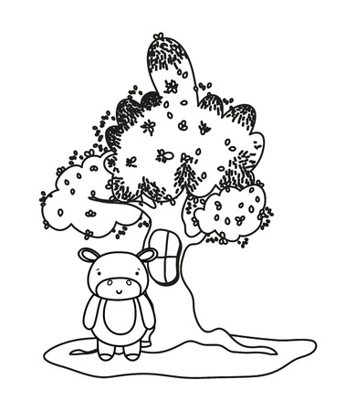 outline tree with window and cute hippopotamus wild animal