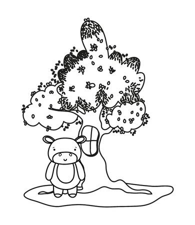 outline tree with window and cute hippopotamus wild animal